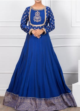 Spotlight Embroidered Cotton Silk Stitched Frock LAPIS LAZURI