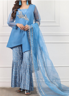 Spotlight Embroidered Organza Stitched 3 Piece Suit PERIWINKLE FAIRY