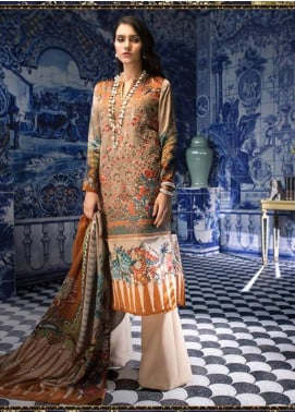 Sana Safinaz Embroidered Chiffon Unstitched 3 Piece Suit SS18C 3A - Silk Chiffon Collection