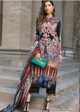 Sana Safinaz Embroidered Chiffon Unstitched 3 Piece Suit SS18C 3B - Silk Chiffon Collection