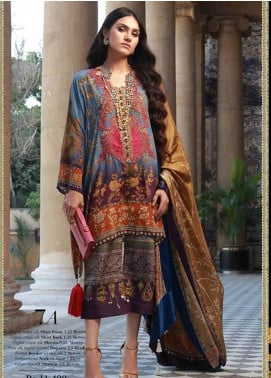 Sana Safinaz Embroidered Chiffon Unstitched 3 Piece Suit SS18C 7A - Silk Chiffon Collection