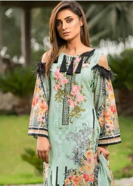 Star Embroidered Lawn Unstitched 3 Piece Suit STR19E 111B - Eid Collection