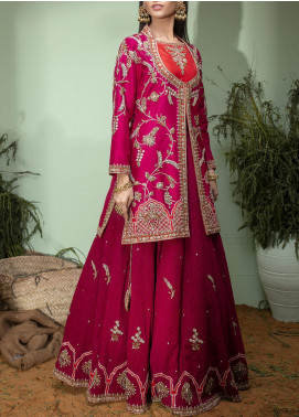 Fayon Embroidered Raw Silk Stitched 2 Piece FN-S151 Pink Coat