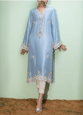 Fayon Embroidered Raw Silk Stitched 2 Piece Suit FN-S154 Sky blue long