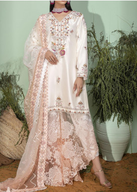 Fayon Embroidered Raw Silk Stitched 3 Piece Suit FN-S156 White Resham