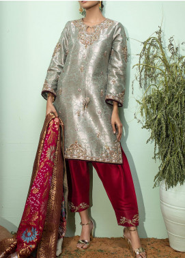 Fayon Embroidered Raw Silk Stitched 3 Piece Suit FN-S157 Green Banarsi