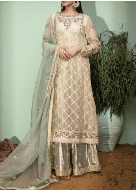 Fayon Embroidered Cotton Net Stitched 3 Piece Suit FN-S158 Fawn Long