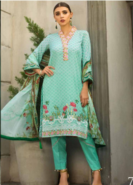 Al Zohaib Embroidered Lawn Unstitched 3 Piece Suit AZS19L 7B - Spring / Summer Collection