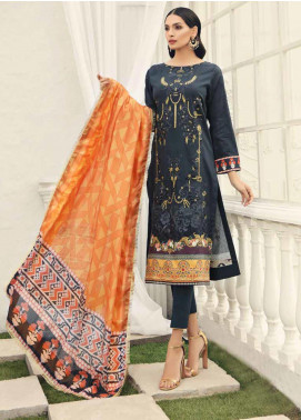 Al Zohaib Embroidered Cotton Silk Unstitched 3 Piece Suit AZ19CS 10 - Luxury Collection