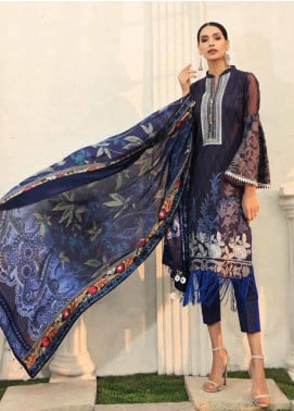 Al Zohaib Embroidered Cotton Silk Unstitched 3 Piece Suit AZ19CS 5 - Luxury Collection