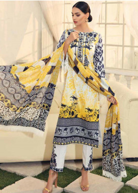 Al Zohaib Embroidered Cotton Silk Unstitched 3 Piece Suit AZ19CS 9 - Luxury Collection