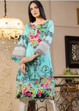 Al Zohaib Printed Cotton Satin Unstitched Kurties AZ19SB K 01 - Luxury Collection