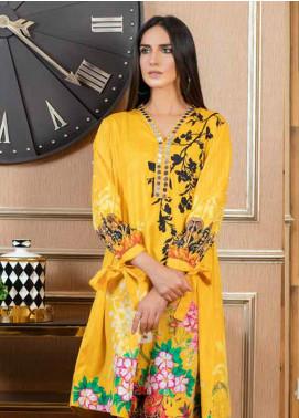 Al Zohaib Printed Cotton Satin Unstitched Kurties AZ19SB K 03 - Luxury Collection