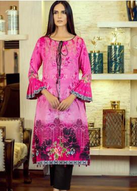 Al Zohaib Printed Cotton Satin Unstitched Kurties AZ19SB K 04 - Luxury Collection