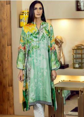 Al Zohaib Printed Cotton Satin Unstitched Kurties AZ19SB K 05 - Luxury Collection