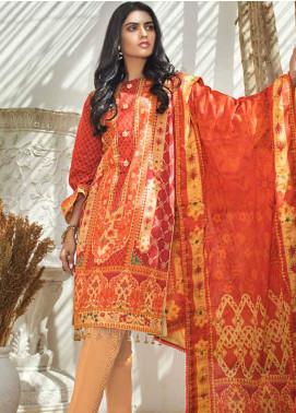 Al Zohaib Printed Cotton Satin Unstitched 3 Piece Suit AZ19SB P 13 - Luxury Collection
