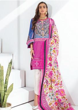 Sunshine Bloom by Al Zohaib Printed Cotton Satin Unstitched 3 Piece Suit AZ20SB 02 - Formal Collection