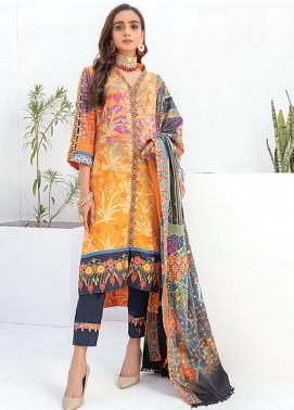 Sunshine Bloom by Al Zohaib Printed Cotton Satin Unstitched 3 Piece Suit AZ20SB 08 - Formal Collection