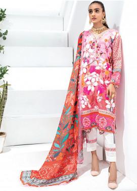 Sunshine Bloom by Al Zohaib Printed Cotton Satin Unstitched 3 Piece Suit AZ20SB 10 - Formal Collection