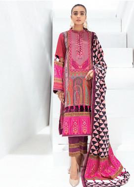 Sunshine Bloom by Al Zohaib Printed Cotton Satin Unstitched 3 Piece Suit AZ20SB 12 - Formal Collection