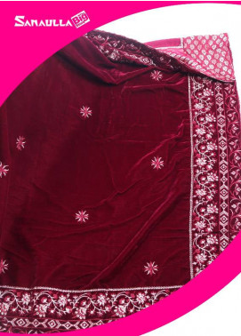 Maroon Embroidered Velvet Shawls for women - SWG 1004