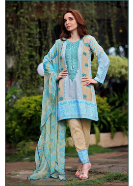 Sonia Azhar Embroidered Lawn Unstitched 3 Piece Suit SZ16E Jade Elephant