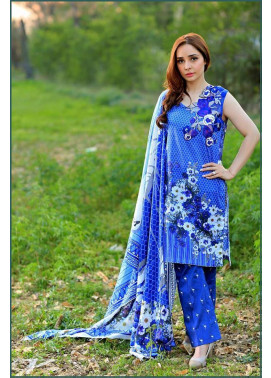 Sonia Azhar Embroidered Lawn Unstitched 3 Piece Suit SZ16E Sapphire Swan