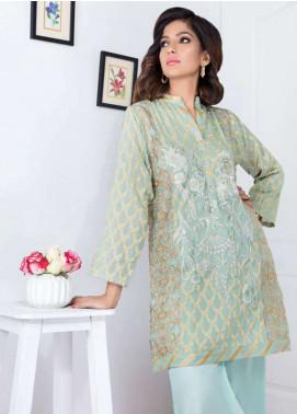 Takhleek By Hijab Omer Embroidered Jacquard Stitched Kurtis Feroza TK-1808 Aqua