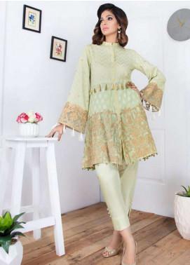 Takhleek By Hijab Omer Embroidered Jacquard Stitched Kurtis Mastani TK-1805 Pislachio Pink