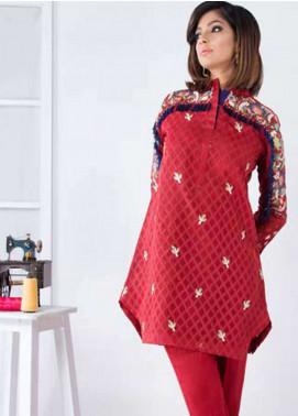 Takhleek By Hijab Omer Embroidered Organza Stitched Kurtis Mini Guatmala TK-1806 Red