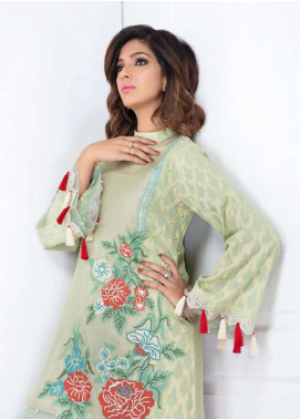 Takhleek By Hijab Omer Embroidered Jacquard Stitched Kurtis Riwaayat TK-1801 Mint Green
