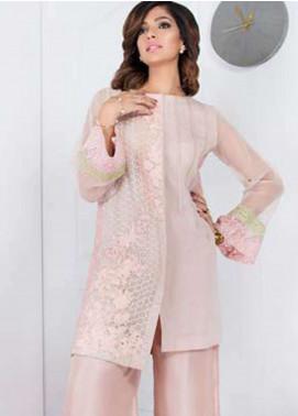 Takhleek By Hijab Omer Embroidered Organza Stitched Kurtis Taabir TK-1802 Soft Pink