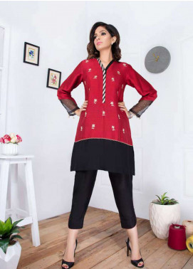 Takhleek By Hijab Omer Embroidered Raw Silk Stitched Kurtis Tara TK-1809 Red & Black
