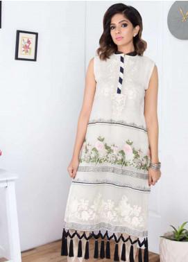 Takhleek By Hijab Omer Embroidered Organza Stitched Kurtis Vasl TK-1807 Off White