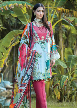 Takhleek By Hijab Omer Embroidered Linen Unstitched 3 Piece Suit TK19W 2B AZAAD - Winter Collection