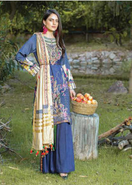 Takhleek By Hijab Omer Embroidered Linen Unstitched 3 Piece Suit TK19W 7A JUSTAJOO - Winter Collection