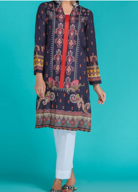 Takhleek By Hijab Omer Printed Lawn Stitched Kurtis TK20PF P-01 Blue