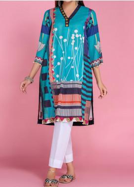 Takhleek By Hijab Omer Printed Lawn Stitched Kurtis TK20PF P-07 Blue