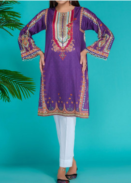 Takhleek By Hijab Omer Printed Lawn Stitched Kurtis TK20PF P-09 Purple