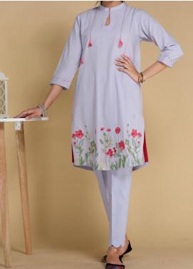 Takhleek By Hijab Omer Printed Lawn Stitched Kurtis TK20PF P-22 Blue