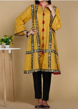 Takhleek By Hijab Omer Printed Lawn Stitched Kurtis TK20PF P-23 Yellow