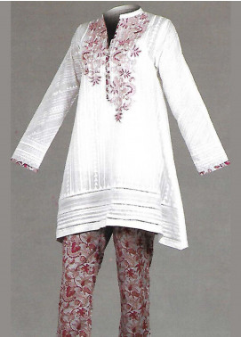 Tarzz Embroidered Lawn Unstitched 2 Piece Suit TZ19L 15 SEED PEARL WHITE - Mid Summer Collection