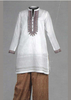 Tarzz Embroidered Lawn Unstitched 2 Piece Suit TZ19L 17 OAK BUFF WHITE - Mid Summer Collection