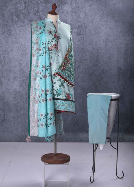 Tarzz Embroidered Lawn Unstitched 2 Piece Suit TZ19L 5A EGGSHEL BLUE - Mid Summer Collection