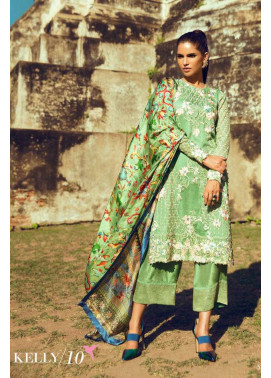 Tena Durrani Embroidered Silk Unstitched 3 Piece Suit TD16W Kelly