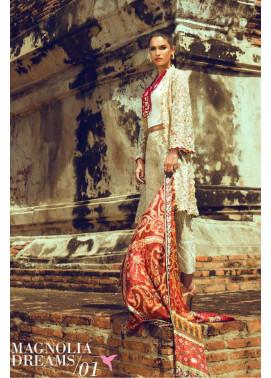 Tena Durrani Embroidered Silk Unstitched 3 Piece Suit TD16W Mangolia Dreams