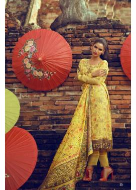 Tena Durrani Embroidered Silk Unstitched 3 Piece Suit TD16W Marigold