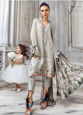 Tena Durrani Embroidered Lawn Unstitched 3 Piece Suit TD18L 02 - Spring / Summer Collection