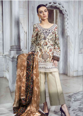 Tena Durrani Embroidered Lawn Unstitched 3 Piece Suit TD18L 06 - Spring / Summer Collection