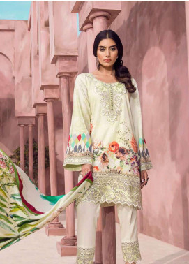 Tena Durrani Embroidered Lawn Unstitched 3 Piece Suit TD18L 14B - Spring / Summer Collection